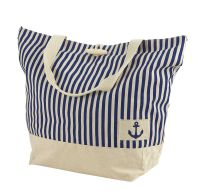 Large Nautical Beach Bag, Navy Blue/Cream