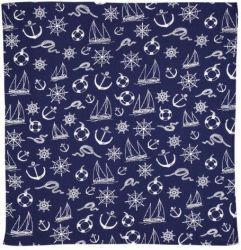 Sailor Print Bandana Scarf, Navy Blue