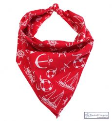 Sailor Print Bandana Scarf, Red