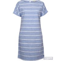 Summer Linen Dress, Stripy Blue