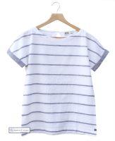 Women's Short Sleeve Linen Top, White/Navy Grey