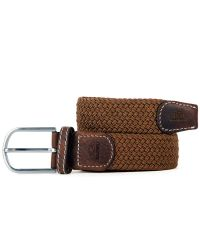 Woven Elastic and Leather Belt - Camel Brown