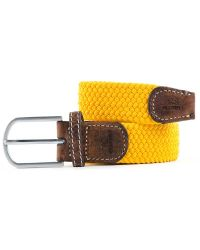Woven Elastic and Leather Belt - Yellow