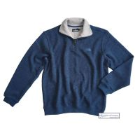 Men's Zip Neck Ribbed Knit Fleece Sweater, Denim Blue