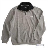 Men's Two Faced Quarter Zip V Neck Sweater, Light Grey