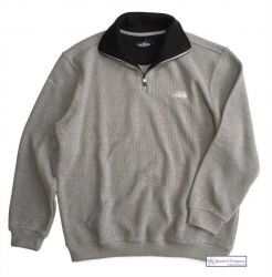Men's Two Faced Quarter Zip V Neck Sweater, Light Grey