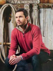 Men's Zip Neck Ribbed Knit Sweatshirt, Raspberry Red