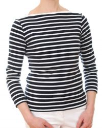 Women's Navy Blue/White Jersey Striped Top