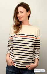 Ladies' Red/Navy Blue Striped Nautical Breton Top (only UK18-20 left)