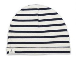 Little Sailor Cotton Stripe Hat, Cream/Navy Blue