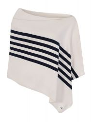 Diagonal Striped Poncho, Cream/Navy Blue