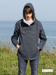 Hooded Fisherman's Smock, Distressed Navy Blue