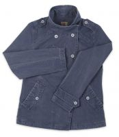 Ladies' Funnel Neck Jacket, Distressed Navy Blue