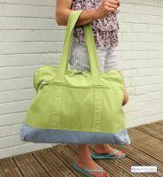 Large Canvas Beach Bag, Apple Green