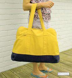 Large Zip Beach Bag, Yellow
