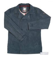 Men's Cotton Peacoat, Distressed Navy Blue