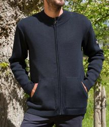 Men's Funnel Neck Full Zip Cardigan, Navy Blue, Wool Mix