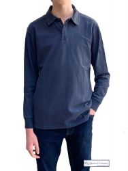 Men's Long Sleeved Polo Shirt, Distressed Navy Blue