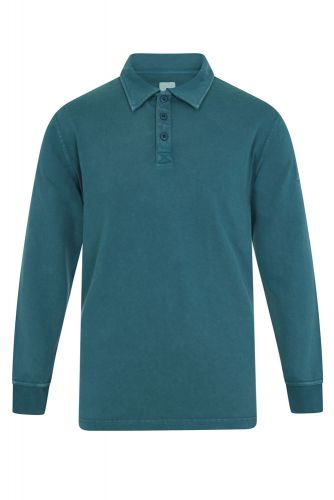 Men's Long Sleeved Polo Shirt, Teal Blue
