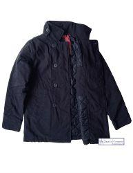 Men's Cotton Peacoat (Winter, Padded), Navy Blue - ADAM