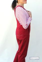 Women's Cotton Dungaree, Chilly Red