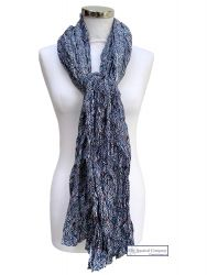 Women Cotton Scarf, Navy, Waves Print