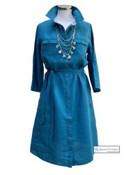 Linen Belted Shirt Dress, Teal Blue