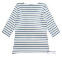 3/4 Sleeve Stripe Top, Cream/Cornflower Blue