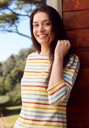 3/4 Sleeve Stripe Top, Multi-Colours