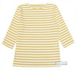 3/4 Sleeve Stripe Top, Cream/Mustard Yellow