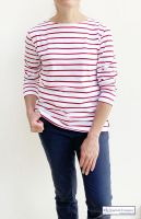 Women's Striped Breton Top, Lightweight, Long Sleeves, White/Red