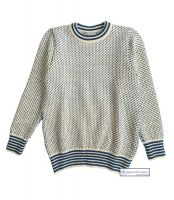 Nordic Crew Neck Sweater, Cream/Blue