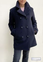 Women's Breton Pea Coat Jacket, Brushed Wool