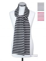 Long Breton Striped Cotton Scarves, White/Navy Blue/Red