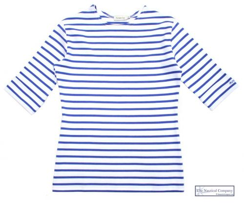 Elbow Sleeve Breton Top, White/Cobalt Blue