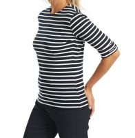 Elbow Sleeve Breton Top, Dark Navy/White