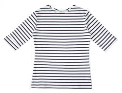 Elbow Sleeve Breton Top, White/Navy Blue