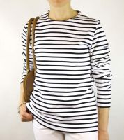 Women's White & Navy Blue Striped Breton Top (Heavyweight)