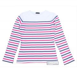Multi Stripe Breton Top, White/Navy/Pink (only UK 14 - FR 42 - US 10 left)