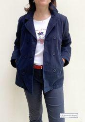 Women's Cotton Peacoat Jacket, Navy Blue