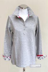 Women's Long Sleeved Polo Shirt, Light Grey