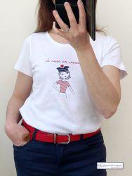 """Women's White Short Sleeve T-Shirt """"Je suis en vacances"""""""