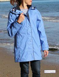 Ladies' Hooded Rain Mac, Cobalt Blue