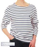 Women's White & Navy Striped Breton T-Shirt, Long Sleeves