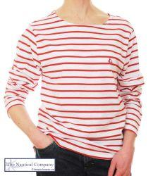 Women's Red & White Striped Breton T-Shirt