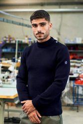 Men's Breton Sweater, Navy Blue, Pure Wool