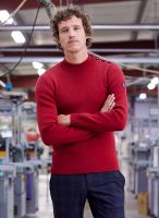 Men's Breton Sweater, Deep Red, Pure Wool