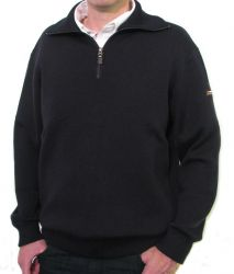 Men's Navy Blue Wool Sailing Breton Sweater, Half Zip