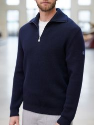 Men's Quarter Zip Breton Sweater, Navy Blue Wool Made in France