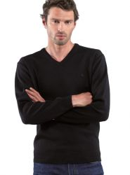 Merino Wool V Neck Yachting Jumper, Navy Blue